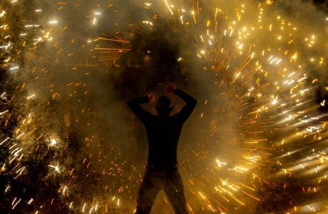 Feuershow beim SAP-Forum